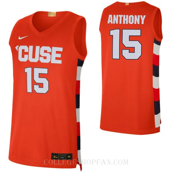 Carmelo Anthony Syracuse Orange #15 Authentic College Basketball Womens Jersey Orange