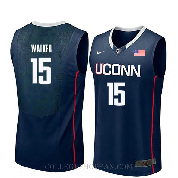 Kemba Walker Uconn Huskies #15 Authentic College Basketball Womens Jersey Navy
