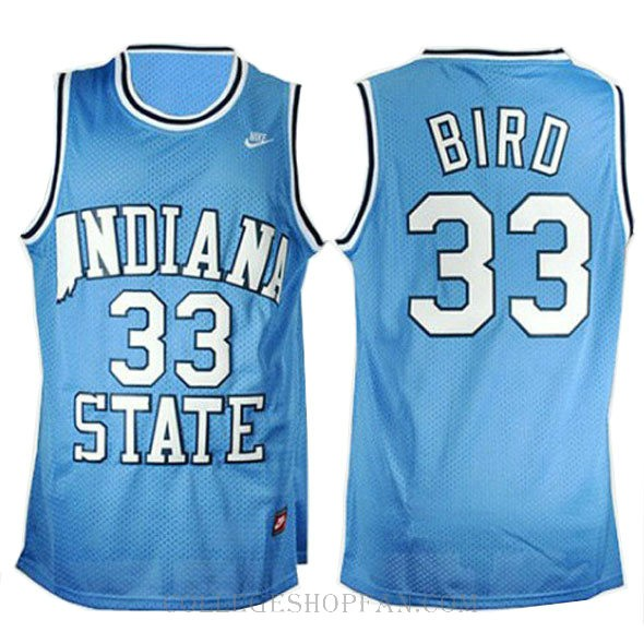 Larry Bird Indiana State Sycamores #33 Limited College Basketball Youth Jersey Blue