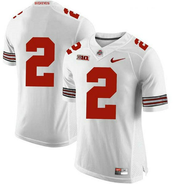 Mens Chase Young Ohio State Buckeyes #2 Game White College Football Jersey No Name 102