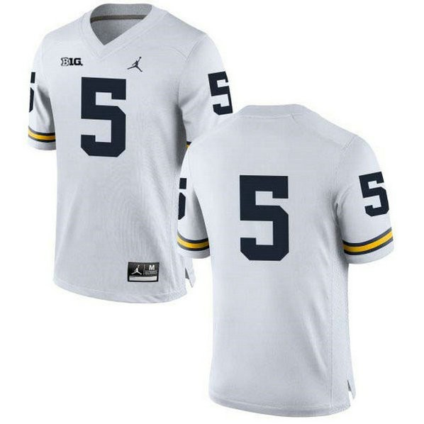 Mens Jabrill Peppers Michigan Wolverines #5 Authentic White College Football Jersey No Name 102
