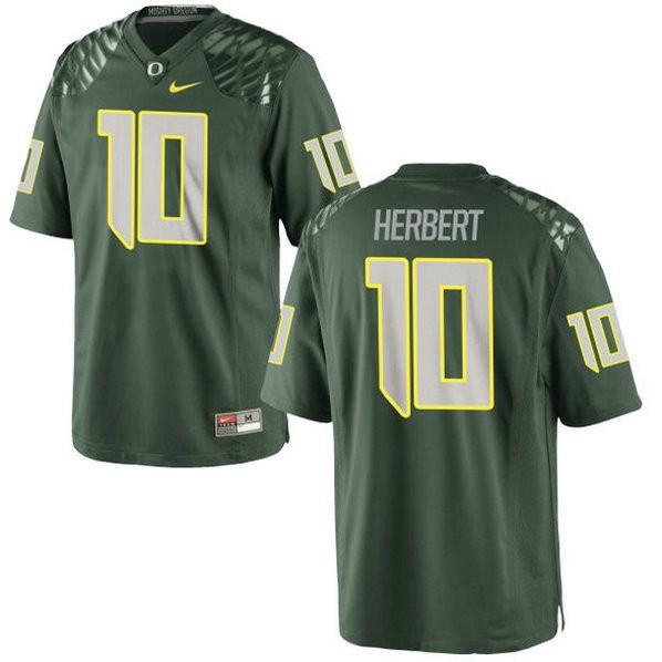 Womens Justin Herbert Oregon Ducks #10 Game Green College Football Jersey 102
