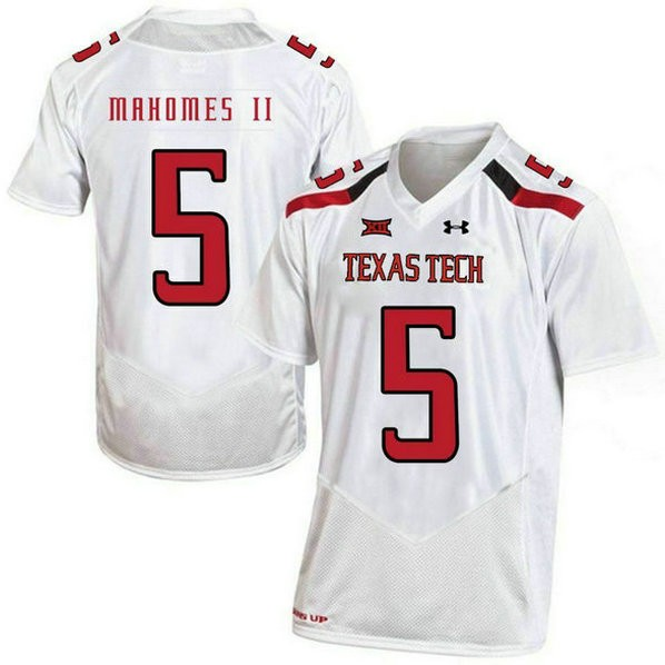 Womens Patrick Mahomes Texas Tech Red Raiders #5 Authentic White Colleage Football Jersey 102