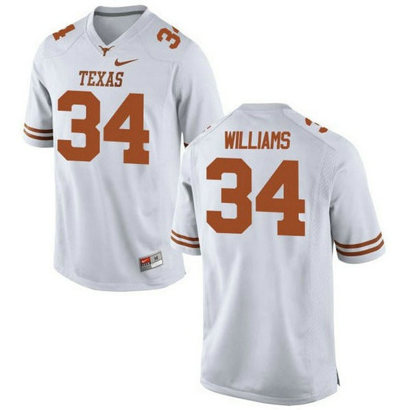 Womens Ricky Williams Texas Longhorns #34 Authentic White Colleage Football Jersey 102
