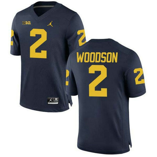 Youth Charles Woodson Michigan Wolverines #2 Authentic Navy College Football Jersey 102