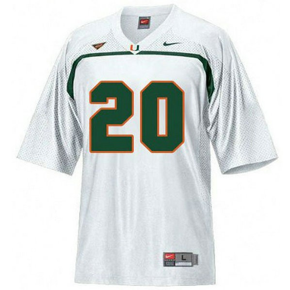 Youth Ed Reed Miami Hurricanes #20 Game White College Football Jersey 102