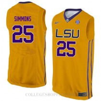 Ben Simmons Lsu Tigers #25 Authentic College Basketball Mens Jersey Gold