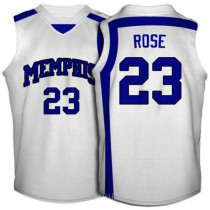 Derrick Rose Memphis Tigers #23 Authentic College Basketball Womens Jersey White