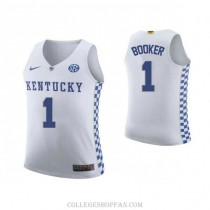Devin Booker Kentucky Wildcats #1 Authentic College Basketball Mens Jersey White