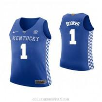 Devin Booker Kentucky Wildcats #1 Authentic College Basketball Womens Jersey Blue