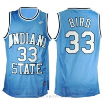 Larry Bird Indiana State Sycamores #33 Authentic College Basketball Womens Jersey Blue
