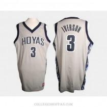 Mens Allen Iverson Georgetown Hoyas #3 Authentic White College Basketball Jersey