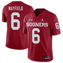 Mens Baker Mayfield Oklahoma Sooners #6 Jordan Brand Authentic Red College Football Jersey 102