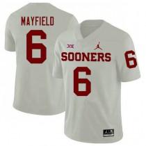 Mens Baker Mayfield Oklahoma Sooners #6 Jordan Brand Game White College Football Jersey 102