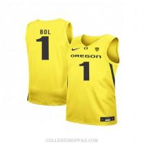 Mens Bol Bol Oregon Ducks #1 Authentic Yellow Alternate College Basketball Jersey
