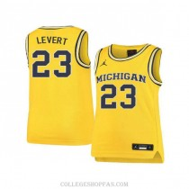 Mens Caris Levert Michigan Wolverines #23 Authentic Yellow College Basketball Jersey