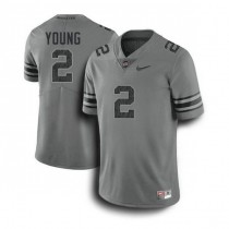 Mens Chase Young Ohio State Buckeyes #2 Authentic Dark Grey College Football Jersey 102