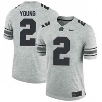 Mens Chase Young Ohio State Buckeyes #2 Authentic Grey College Football Jersey 102