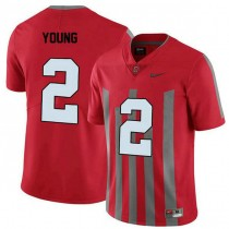 Mens Chase Young Ohio State Buckeyes #2 Throwback Authentic Red College Football Jersey 102