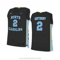 Mens Cole Anthony North Carolina Tar Heels #2 Authentic Black College Basketball Unc Jersey