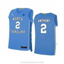 Mens Cole Anthony North Carolina Tar Heels #2 Authentic Blue College Basketball Unc Jersey