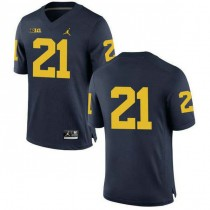 Mens Desmond Howard Michigan Wolverines #21 Authentic Navy College Football Jersey No Name 102