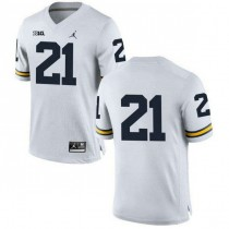 Mens Desmond Howard Michigan Wolverines #21 Authentic White College Football Jersey No Name 102