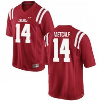 Mens Dk Metcalf Ole Miss Rebels #14 Authentic Red College Football Jersey 102