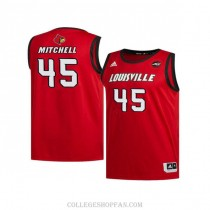 Mens Donovan Mitchell Louisville Cardinals #45 Authentic Red Retro College Basketball Jersey