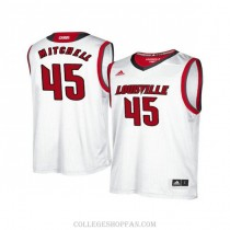 Mens Donovan Mitchell Louisville Cardinals #45 Authentic White College Basketball Jersey