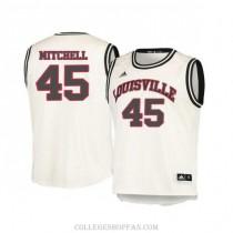 Mens Donovan Mitchell Louisville Cardinals #45 Authentic White Retro College Basketball Jersey