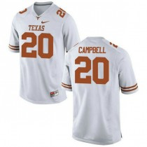 Mens Earl Campbell Texas Longhorns #20 Authentic White Colleage Football Jersey 102
