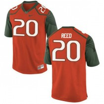 Mens Ed Reed Miami Hurricanes #20 Authentic Orange Green College Football Jersey 102