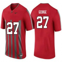 Mens Eddie George Ohio State Buckeyes #27 Throwback Authentic Red College Football Jersey 102