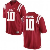 Mens Eli Manning Ole Miss Rebels #10 Authentic Red College Football Jersey 102