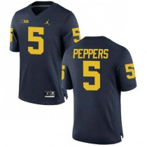 Mens Jabrill Peppers Michigan Wolverines #5 Authentic Navy College Football Jersey 102