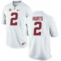 Mens Jalen Hurts Alabama Crimson Tide #2 Game White Colleage Football Jersey 102