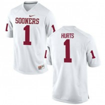 Mens Jalen Hurts Oklahoma Sooners #1 Game White College Football Jersey 102