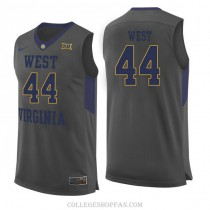 Mens Jerry West West Virginia Mountaineers #44 Authentic Gray College Basketball Jersey