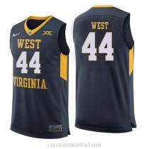 Mens Jerry West West Virginia Mountaineers #44 Authentic Navy College Basketball Jersey