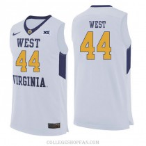 Mens Jerry West West Virginia Mountaineers #44 Authentic White College Basketball Jersey