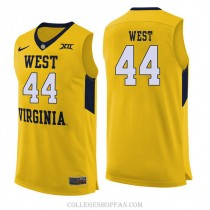 Mens Jerry West West Virginia Mountaineers #44 Authentic Yellow College Basketball Jersey
