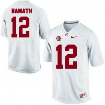 Mens Joe Namath Alabama Crimson Tide #12 Authentic White Colleage Football Jersey 102