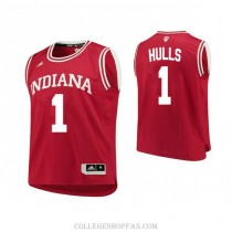 Mens Jordan Hulls Indiana Hoosiers #1 Authentic Red College Basketball Jersey