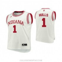 Mens Jordan Hulls Indiana Hoosiers #1 Authentic White College Basketball Jersey