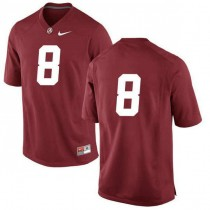 Mens Josh Jacobs Alabama Crimson Tide #8 Authentic Red Colleage Football Jersey No Name 102