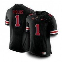 Mens Justin Fields Ohio State Buckeyes #1 Authentic Black College Football Jersey 102