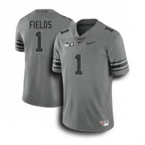 Mens Justin Fields Ohio State Buckeyes #1 Authentic Dark Grey College Football Jersey 102