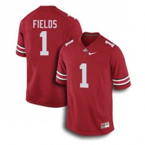 Mens Justin Fields Ohio State Buckeyes #1 Authentic Red College Football Jersey 102