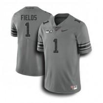 Mens Justin Fields Ohio State Buckeyes #1 Game Dark Grey College Football Jersey 102
